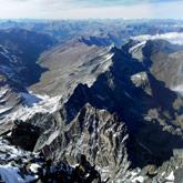 Onbegrensd uitzicht op de bergtop van de Mont Viso in Queyras aan de Frans Italiaanse grens.